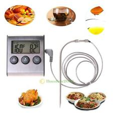 Kitchen Digital Food Thermometer Probe Timer Meter Grill MeatCooking Oven BBQ