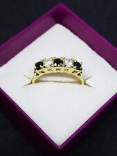 Impressive 9ct gold cubic zirconia & black diamante ring size N 1/2 Hallmarked