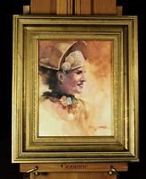 Oil painting on canvas board, portrait of a classic woman, Phil Stark