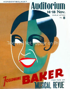 "Josephine Baker Stockholm 1938 Vintage Print/ Poster - 8.5"" x 11"" Reproduction"