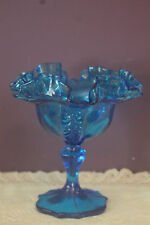 FENTON EMPRESS COLONIAL BLUE COMPOTE / CANDY DISH - 1960's LIMITED EDITION