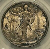 1917 Silver Walking Liberty Half Dollar 50c PCGS MS65 Gold Shield ~ Rare HiGrade