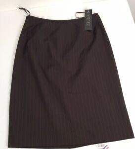 Kasper Skirt Womens Career Business Dress Brown Pinstripe 8P