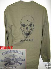 NAVY CORPSMAN FMF LONG SLEEVE T-SHIRT/ SKULL DOUBLE TAP LONG SLEEVE/ MILITARY