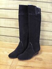 Calvin Klein Helenah Suede Leather Black Boots 7 M New Full Side Zipper