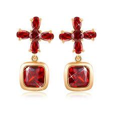 18K Gold Filled Big Crystal Ruby Amethyst Cross Flower Stud Earrings
