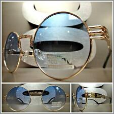 CLASSIC VINTAGE RETRO Style SUN GLASSES Unique Round Gold Frame Light Blue Lens