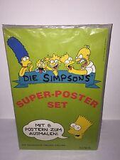"""The Simpsons RARE VINTAGE 1991 German """"Die Simpsons"""" 8 Super Posters Set SEALED"""