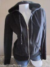 Victoria's Secret VSX Sport Black Velour Zip Jacket Hoodie Sweatshirt Warm S