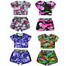 Girls Camo Crop Top And Shorts Outfit New Kids Summer Set Age 5-13 Yrs