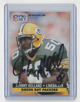 1991 PACKERS Johnny Holland signed card AUTO Pro Set #155 Autographed Green Bay