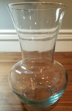 """Round Glass Vase Clear Blue Tint Flower Bouquet 10 X 5 1/4"""" Fish Bowl Terrarium"""