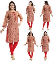 UK STOCK - WOMEN FASHION INDIAN KURTA KURTI TUNIC TOP SHIRT PARTY SC2505 Red