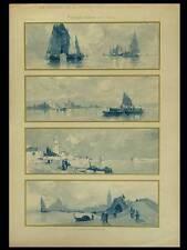 PAYSAGES ITALIENS, HENRI CASSIERS -1900- LITHOGRAPHIE, ART NOUVEAU, VENISE