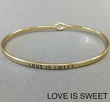 Engraving Vintage Brass Classic Bangle Simple Gold Love Is Sweet