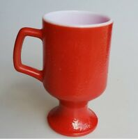 Red milk glass pedestal mug fired-on color orange peel texture Anchor Hocking