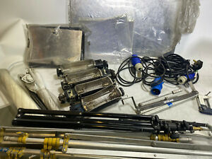 4 x Lowel tota video lights, wheeled case, umbrellas, stands, bulbs, gels + more