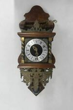 Dutch Zaandam 1900s Antique Brass Faith Hope Roman Numeral Wall Hanging Clock