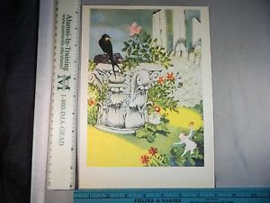 Rare Antique Original VTG Fairies & Black Bird In Garden Color Litho Art Print