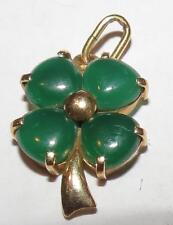 Antique Amulet clover pendant gold 18k and stones , unique