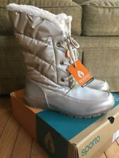 Women's Sporto Size 12 Wide Champagne Waterproof Boots Lace Up