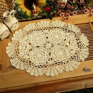 Crochet Cotton Lace Placemats Doilies Oval Shape, Beige, 12x17 Inch, Pack Of 4