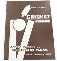 1976 RARE CRICKET TOUR PROGRAMME. NORTHERN NSW v WEST INDIES. 10 - 11 JAN 1976.