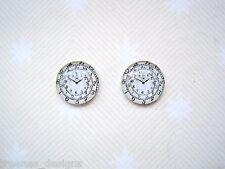 CLOCK FACE SWIRL DOMED Glass Stud Earrings SP Gift Bag Steampunk