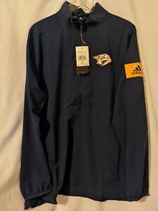 NWT Adidas Nashville Predators Game Mode Mens 1/4 Zip Pullover Jacket Sz S EB654
