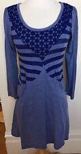 KATIE HOSKING Designer Blue Striped Crochet Neck Long Sleeve Stretch Dress S