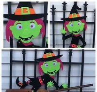 Halloween Decor Witch Jointed Felt Wall Hanging Black Green Orange Decoration