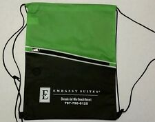 Embassy Suites Promotional Products Drawstring Gym Bag Green and Black