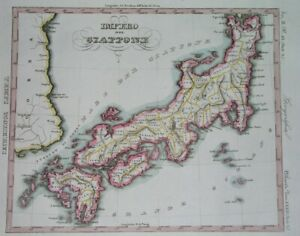 1845 RARE ORIGINAL MAP JAPAN TOKYO KIOTO NAGASAKI OSAKA KOREA HONSHU KYUSHU