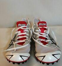 Asics Hyper MD 5 White/Sivler/Black/Red Mens Cleats Size 10 1/2