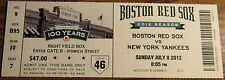 July 8th, 2012 Boston Red Sox vs. New York Yankees Ticket Stub