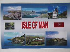 ISLE OF MAN - JUMBO FRIDGE MAGNET - Steam Railway, Laxey Wheel, Castles,