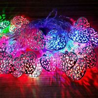 20 LED Battery Operated Silver Heart Fairy String Light Wedding Party Decoration