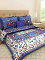 Handmade Attractive Print Cotton Double Bed Sheet With 2 Pillow Cover For Gift