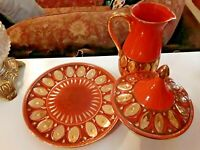 Vintage Made In Italy Set Plate Pitcher Covered Dish Pedestal Orange Gold