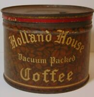 Vintage 30s HOLLAND HOUSE COFFEE KEYWIND COFFEE TIN 1 POUND SECAUCUS NEW JERSEY