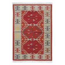 Kilim Old Traditional Hand Made Turkish Oriental Large Red Wool Kilim 120x180