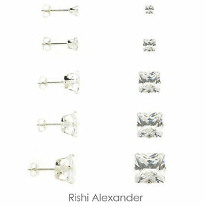 925 Sterling Silver Square Cut Clear CZ Stud Earrings Butterfly Posts