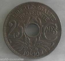 25 centimes lindauer 1930 : TB : pièce de monnaie française