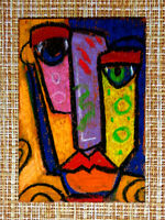 ACEO original pastel painting outsider folk art brut #010400 abstract surreal