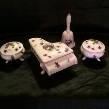 NorCrest Fine Porcelain. Trinket Box Dresser Set in Sweet Violet.