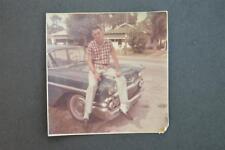 Vintage Car Photo Man Sitting on 1958 Chevrolet Chevy 925003