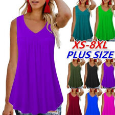 Womens Sleeveless T Shirt Crew Neck Summer Tank Top Solid Casual Loose Blouse
