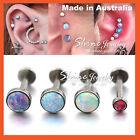 Opal Stud Thread Ring Bar Labret Lip Ear Earrings Nose Helix Tragus Piercing 1PC