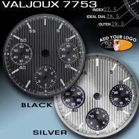 DIAL MOVEMENT ETA VALJOUX 7753, Ø 29.5 MM NO DATE, BLACK OR SILVER, PINESTRIPES