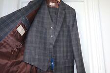New Hackett Logo Piana Suit 42R Grey Brown Check 3 piece (Ex Display)